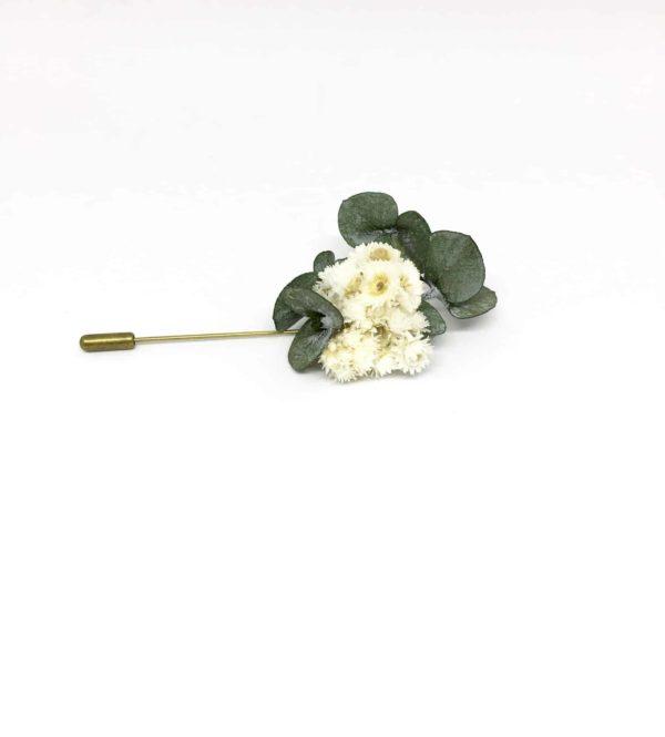 Boutonnière broche Gorgon en fleurs naturelles séchées et stabilisées - Marié et témoins