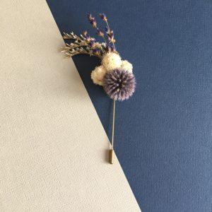 Boutonnière broche Cyriaque - Bleu