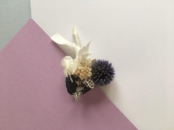 Boutonnière en fleurs Théodore aux tons bleus