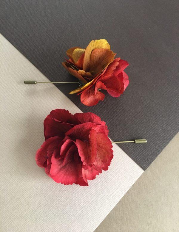 Boutonnière oeillet Hermès en fleur stabilisée